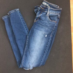 Old navy mid rise skinny ripped jeans size 0